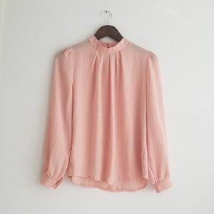 Tops - Light Pink High Neck Blouse, Medium